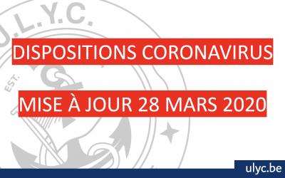 UPDATE CORONAVIRUS: mise à jour du 28 mars 2020